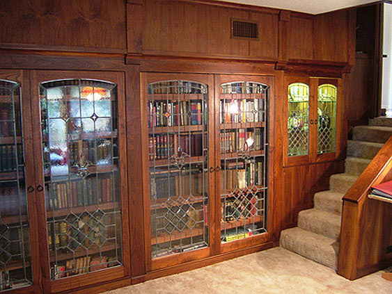Library Shelving with Leaded Glass Doors